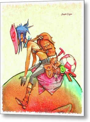 Backpacker Girl Metal Print by Leonardo Digenio