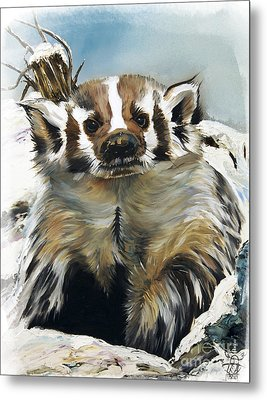 Badger - Guardian Of The South Metal Print by J W Baker