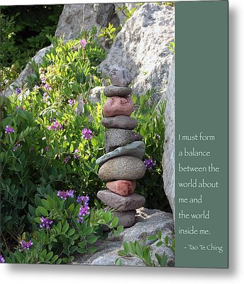 Balancing Stones With Tao Quote Metal Print by Heidi Hermes