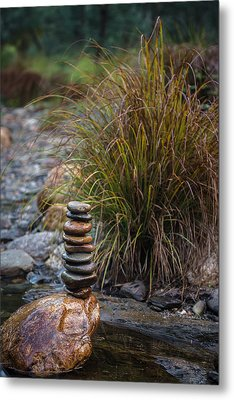 Balancing Zen Stones In Countryside River V Metal Print by Marco Oliveira