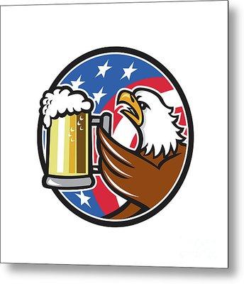Bald Eagle Hoisting Beer Stein Usa Flag Circle Retro Metal Print by Aloysius Patrimonio