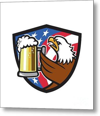 Bald Eagle Hoisting Beer Stein Usa Flag Crest Retro Metal Print by Aloysius Patrimonio