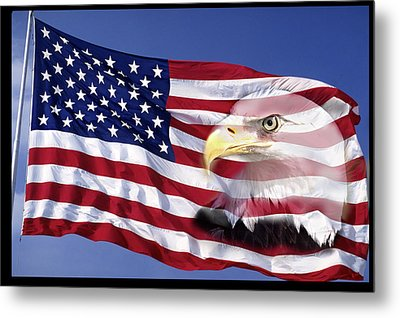 Bald Eagle On Flag Metal Print by Panoramic Images