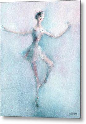 Ballerina Pastel Pink And Blue Metal Print by Beverly Brown Prints
