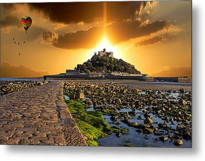 Ballooning Over St Michaels Mount Metal Print by Martin Newman