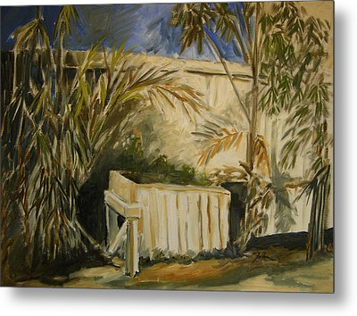 Bamboo And Herb Garden Metal Print by Julianne Felton