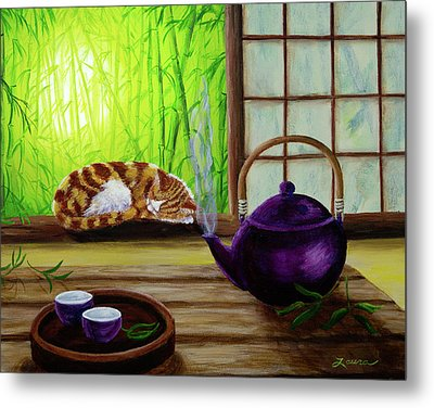 Bamboo Morning Tea Metal Print by Laura Iverson