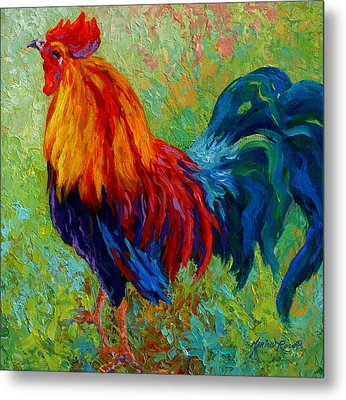 Band Of Gold - Rooster Metal Print by Marion Rose