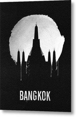Bangkok Landmark Black Metal Print by Naxart Studio
