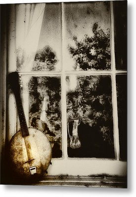 Banjo Mandolin In The Window In Black And White Metal Print by Bill Cannon