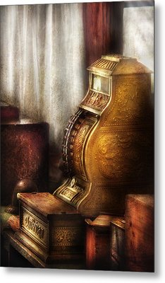 Banker - Brass Cash Register  Metal Print by Mike Savad