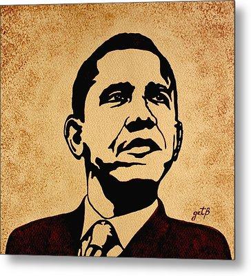 Barack Obama Original Coffee Painting Metal Print by Georgeta  Blanaru