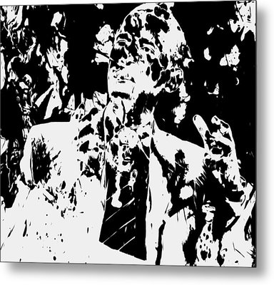 Barack Obama Paint Splatter 4b Metal Print by Brian Reaves