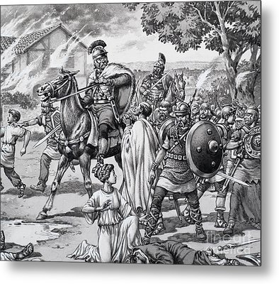 Barbarian Attack On The Romano British Metal Print by Pat Nicolle