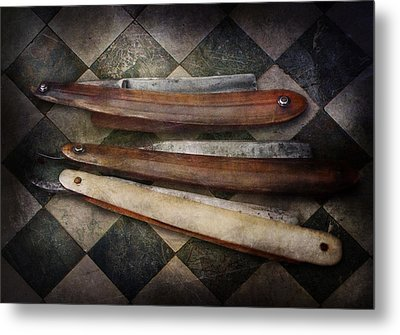 Barber - The Razor  Metal Print by Mike Savad
