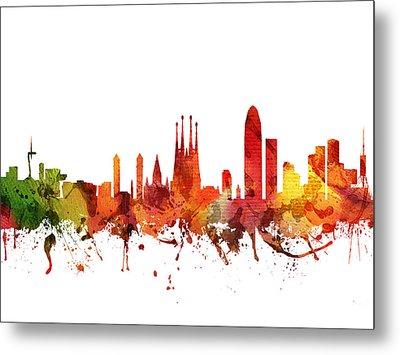 Barcelona Cityscape 04 Metal Print by Aged Pixel