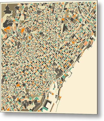 Barcelona Map Metal Print by Jazzberry Blue