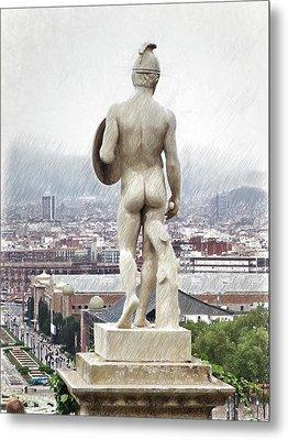Barcelona-montjuic Big Sculpture  Metal Print by Joaquin Abella