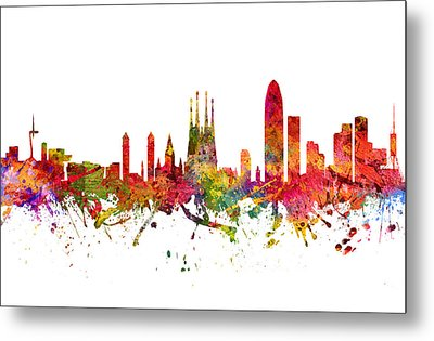 Barcelona Spain Cityscape 08 Metal Print by Aged Pixel