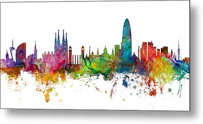 Barcelona Spain Skyline Panoramic Metal Print by Michael Tompsett