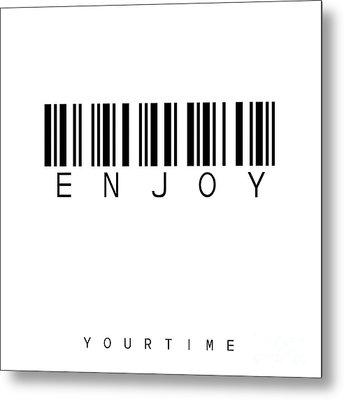 Barcode Enjoy Metal Print by Steffi Louis
