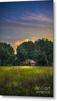 Barn And Palmetto Metal Print by Marvin Spates