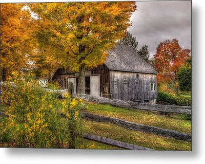 Barn In Autumn Metal Print by Joann Vitali