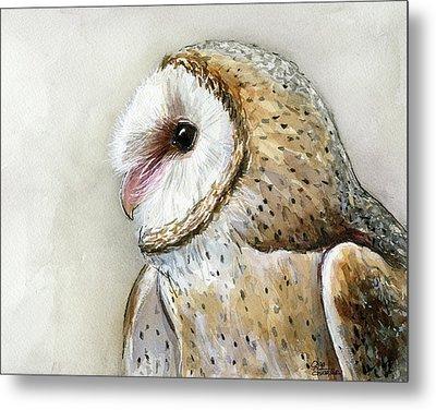 Barn Owl Watercolor Metal Print by Olga Shvartsur