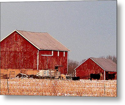 Barns In Winter Metal Print by David Bearden