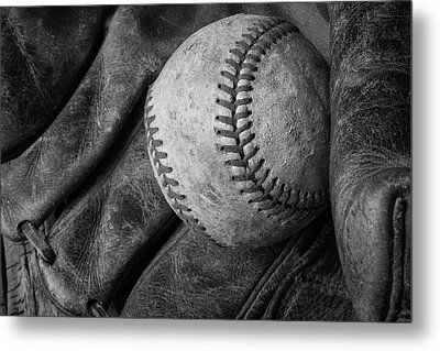 Baseball Black And White Metal Print by Garry Gay