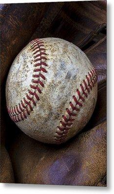 Baseball Close Up Metal Print by Garry Gay