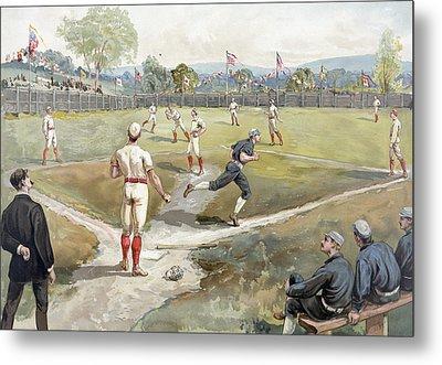 Baseball Game Metal Print by Unknown
