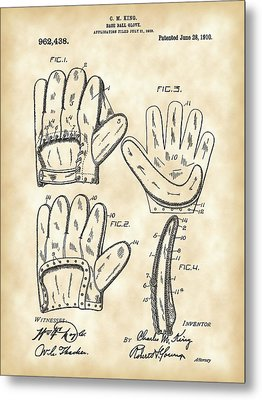 Baseball Glove Patent 1909 - Vintage Metal Print by Stephen Younts