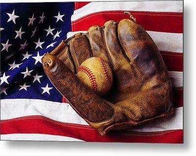 Baseball Mitt And American Flag Metal Print by Garry Gay