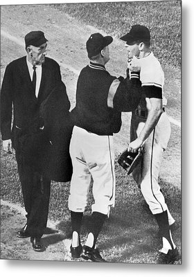 Baseball Player Ejected Metal Print by Underwood Archives