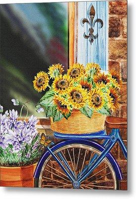 Basket Full Of Sunflowers Metal Print by Irina Sztukowski
