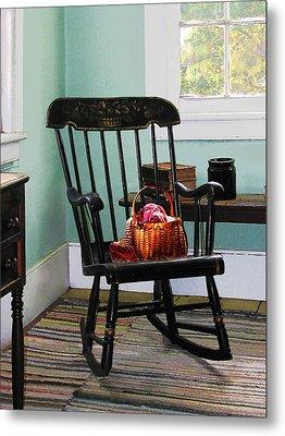 Basket Of Yarn On Rocking Chair Metal Print by Susan Savad
