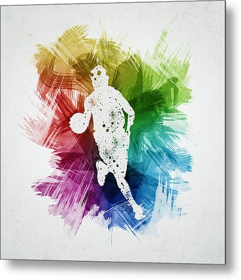 Basketball Player Art 02 Metal Print by Aged Pixel