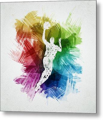 Basketball Player Art 05 Metal Print by Aged Pixel