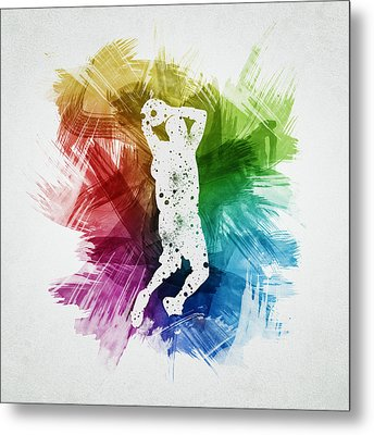 Basketball Player Art 07 Metal Print by Aged Pixel