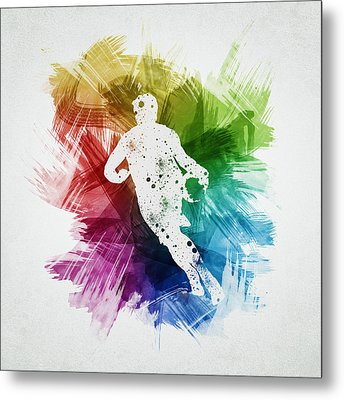 Basketball Player Art 08 Metal Print by Aged Pixel
