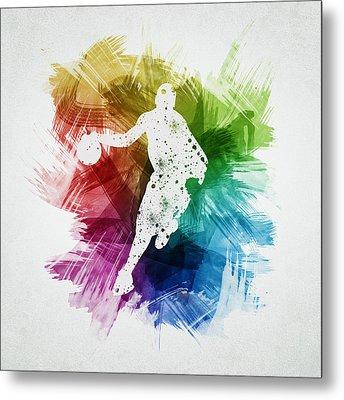 Basketball Player Art 14 Metal Print by Aged Pixel