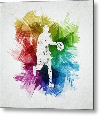 Basketball Player Art 16 Metal Print by Aged Pixel