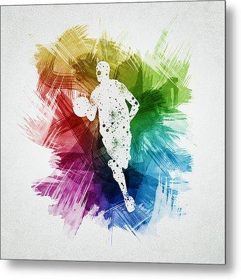 Basketball Player Art 17 Metal Print by Aged Pixel