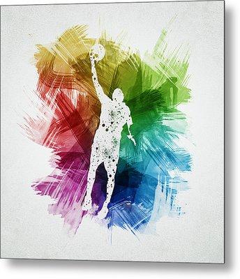 Basketball Player Art 19 Metal Print by Aged Pixel