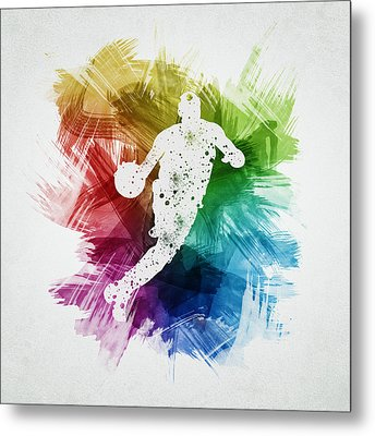 Basketball Player Art 20 Metal Print by Aged Pixel
