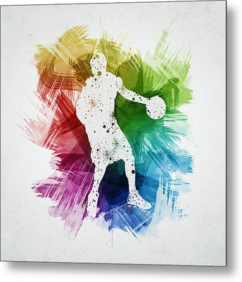 Basketball Player Art 21 Metal Print by Aged Pixel