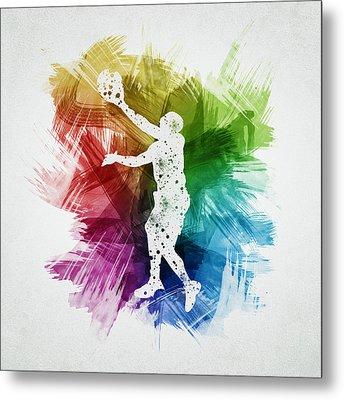 Basketball Player Art 23 Metal Print by Aged Pixel