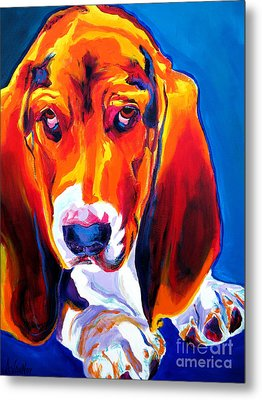 Basset - Ears Metal Print by Alicia VanNoy Call
