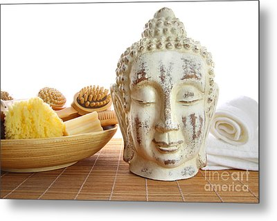 Bath Accessories With Buddha Statue Metal Print by Sandra Cunningham